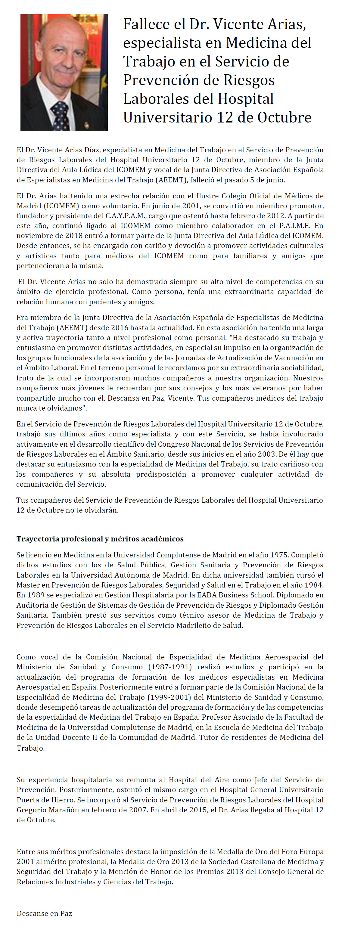 Fallece el Dr. Vicente Arias